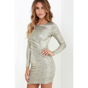 Lulus Luxe of My Life along Sleeve Gold Dress